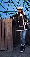 Дубленка замшевая с капюшоном женская Heppi 44–48р. в расцветках
