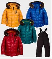 Goldy Комплект куртка+напівкомбінезон р80, 92, 98, 104 бордовий/чорний овчина