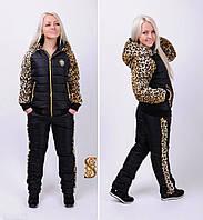 Костюм теплый  с леопардовым принтом 445
