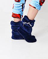 Теплые детские махровые сапожки синего цвета