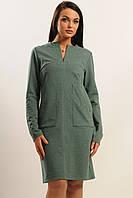 Теплое женское платье с карманами,зеленого цвета.