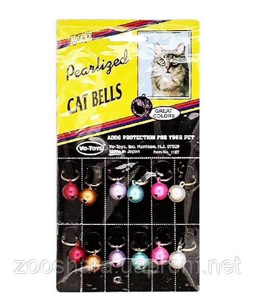 Vo-Toys ШАРИК-КОЛОКОЛЬЧИК НА ОШЕЙНИК перламутровый для котов, метал (маленькие)