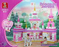 Конструктор SLUBAN Замок принцессы, фигурки, лошадь 385дет. в коробке  42,5х38х8см M38-B0251