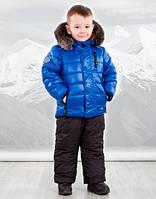 Goldy Комплект куртка+напівкомбінезон р86, 98, 104 синій/чорний овчина