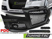 Передний бампер тюнинг обвес Audi A3 8P стиль RS черная реш с PDC