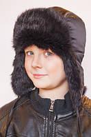 Детская шапка-ушанка черная