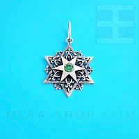 Шестиконечная Звезда амулет из серебра с камнем