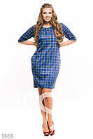 Синее клетчатое платье-трапеция большого размера