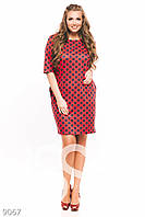 Красное в горох платье-трапеция большого размера