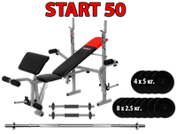 Лавка EverTop 307B + Штанга + гантели 50 кг.