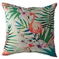 """Декоративная наволочка на подушку """"Tropical flamingo"""""""