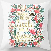 """Бежевая декоративная наволочка на подушку с цветочным принтом и надписью """"She is fierce"""" black"""