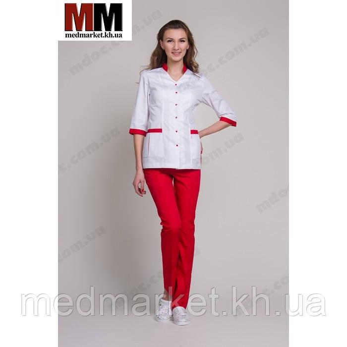 1a976a81b9f Медицинский костюм женский Сингапур №1010комбинированный (белый красный  котоновый)