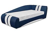 Кровать односпальная Драйв 90 без матраса кожзам бум 21 (Синий)