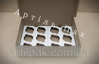 Коробка для 12 кексів, маффінів, капкейків 340*255*100 БІЛА Нова  Коробка для кексов, маффинов, капкейков