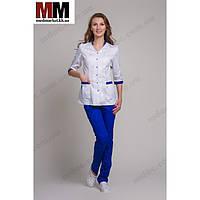 Медицинский костюм женский Сингапур №1013комбинированный (белый/синий котоновый)