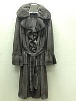 Шуба манто из норки графит длинная воротник волан