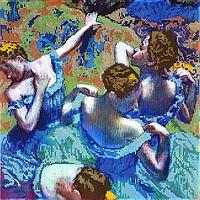 Схема для вышивки бисером POINT ART Голубые танцовщицы, размер 35х35 см