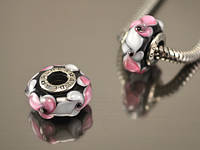 Бусина Вечерний цветок для браслетов Пандора, бело-розовая на черном