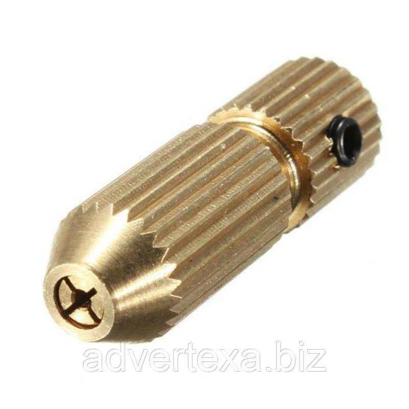 Патрон цанговый на вал 2.3 мм. зажим 0.7 мм. - 1.2 мм. с несъемной цангой. Для  мини дрели