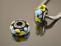 Бусина Вечерний цветок для браслета Пандора, желто-голубая на черном