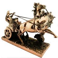 Статуэтка колесница, римлянин, покрытая латунью (уценка) 350х240х120