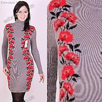 Теплое платье под горло в украинском стиле с цветами. Серый Размеры 42-48