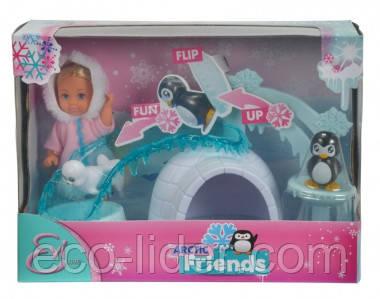 """Кукольный набор Эви """"Друзья Арктики"""" с животными, ледяным домом и горкой, 3+"""
