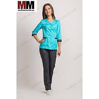Медицинский костюм женский Сингапур №1008комбинированный (мятный графитный  котоновый) 22384da5b0bd2