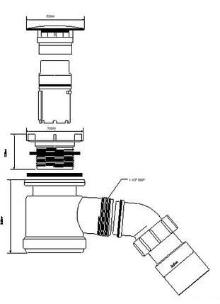 Сифон для душевых поддонов ТМ McAlpine HC 26-МWH, фото 2