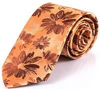 Солидный мужской шелковый галстук SCHONAU & HOUCKEN (ШЕНАУ & ХОЙКЕН) FARESHS-14 оранжевый
