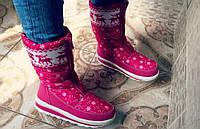 Модные теплые зимние женские сапоги дутики, розовые