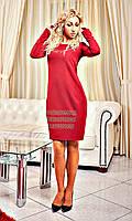 Бордовое платье с узором из страз