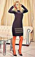Черное классическое платье приталеное