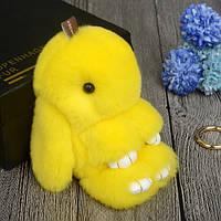 """Брелок из меха кролика-rex """"Кролик"""" Желтый"""
