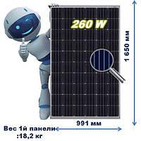 Солнечная батарея ,JA SOLAR ,JAP6 60 ,Мощность-260Pm(W),тип кристалла-поли,(Фотоэлектрический модуль