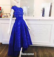 Вечернее платье из гипюра с удлиненным низом (ЭЛЕКТРИК,ЧЕРНЫЙ,КРАСНЫЙ,БИРЮЗА)