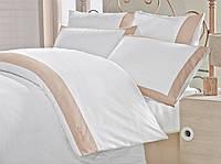 Изысканное сатиновое постельное белье ЕВРО размера с вышивкой Cotton Box HARIKA CB07