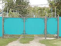 Ворота из профлиста с калиткой. Установка