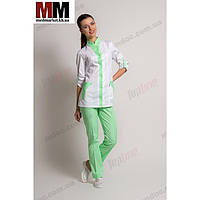 Медицинский костюм женский Женева №1003комбинированный (белый/салатовый котоновый)