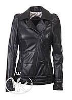Черная кожаная куртка с косой молнией (размер М)
