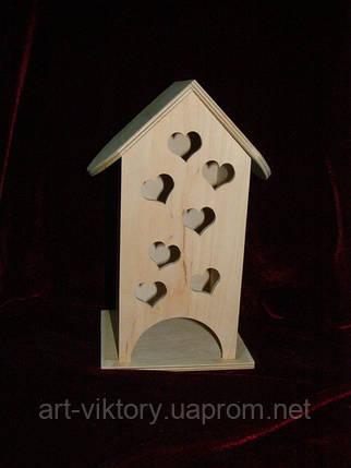 Шкатулка для чайных пакетиков в виде домика маленькие сердечки (10 х 10 х 23 см), фото 2