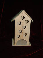 Шкатулка для чайных пакетиков в виде домика маленькие сердечки (10 х 10 х 23 см)