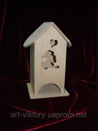Шкатулка для чайных пакетиков в виде домика Зайка мечтающий о любви (10 х 10 х 23 см), фото 2