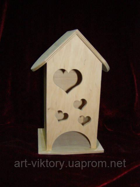 Домик коробка для чайных пакетиков Сердечки (10 х 10 х 23 см)