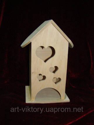 Домик коробка для чайных пакетиков Сердечки (10 х 10 х 23 см), фото 2