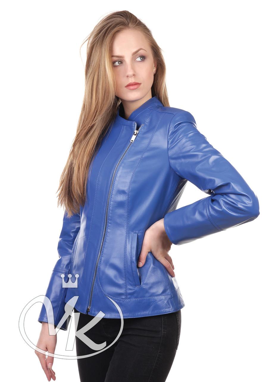 Синяя кожаная куртка с вырезом - Интернет магазин кожаных курток и дубленок VK-Fason в Виннице