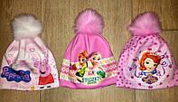 Детская шапочка для девочки утеплённая на флисе