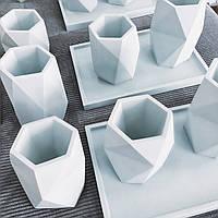 Ваза Ohaina ручной работы 12 см бетонная цвет голубая пудра