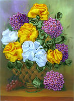 Набор для вышивания лентами Роскошные розы НЛ-3026